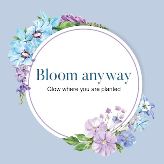 ハイビスカス、コロンバインの花の水彩イラストとフラワーガーデンリース。