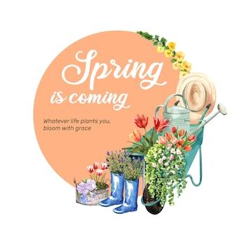 チューリップ、モウズイカ、リナム、リュリアの水彩イラストと花の庭の花輪。