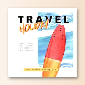 ソーシャルメディア休日の夏の旅行ビーチヤシの木の休暇、海と空の日差し