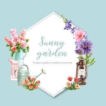 ランタン、チューリップ、デイジーの水彩イラストと花の庭の花輪。