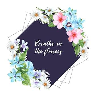 リナム、ハイビスカス、シリア、デイジーの水彩イラストと花の庭の花輪。
