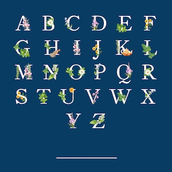 様々なハーブの水彩イラストとハーブティーアルファベット。