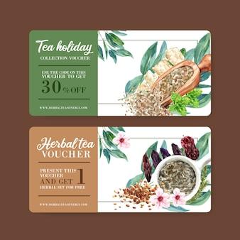 Ваучер травяной чай с мятой, персик цветок акварельные иллюстрации.