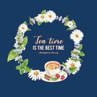 レモン、ティーカップ、ローゼル、シナモンの水彩イラストとハーブティーの花輪。