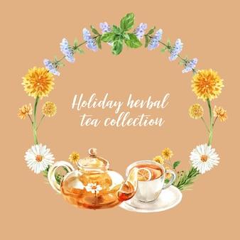 メリッサ、菊、ティーポット水彩イラストとハーブティーの花輪。