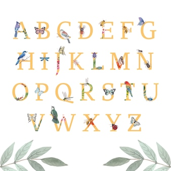 蝶、カブトムシ、鳥の水彩イラストと昆虫と鳥のアルファベット。