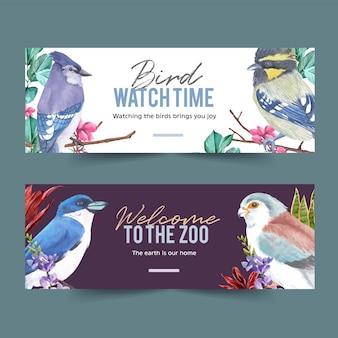フィンチ、コガネメキシコインコと昆虫と鳥のバナーは、水彩イラストを残します。