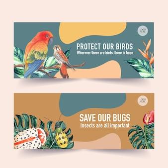 コガネメキシコインコ、モンステラ、カブトムシの水彩イラストと昆虫と鳥のバナー。
