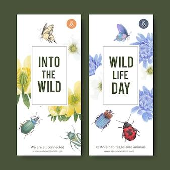 蝶、カブトムシ、花の水彩イラストと昆虫や鳥のチラシ。