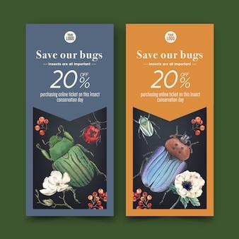 Флаер насекомых и птиц с цветок, жук, божья коровка акварельные иллюстрации.