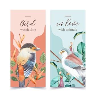 フィンチと昆虫と鳥のチラシ、ウツボカズラの水彩イラスト。