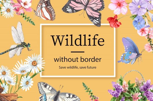 蝶、トンボ、花の水彩イラストと昆虫と鳥のフレーム。