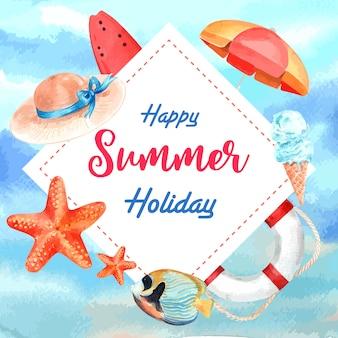 休日の夏、ビーチで旅行します。ヤシの木休暇フレームリース