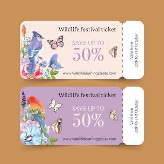 オウム、蝶、アオカケス水彩イラストと昆虫のチケット。