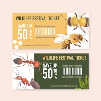 蜂、アリの水彩イラストと昆虫と鳥のチケット。