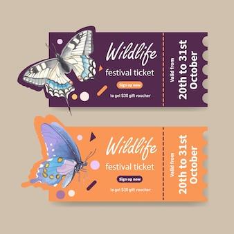 蝶の水彩イラストと昆虫のチケット。