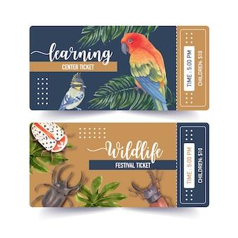 アオカケス、バグ、コガネメキシコインコの水彩イラストと昆虫と鳥のチケット。
