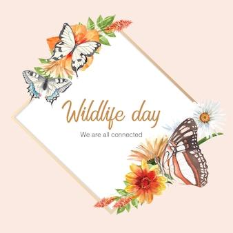 蝶と花の水彩イラストと昆虫と鳥の花輪。