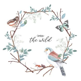 蝶、アリ、フィンチ、枝の水彩イラストと昆虫と鳥の花輪。