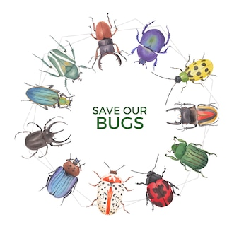 クワガタムシ、てんとう虫水彩イラストと昆虫と鳥の花輪。