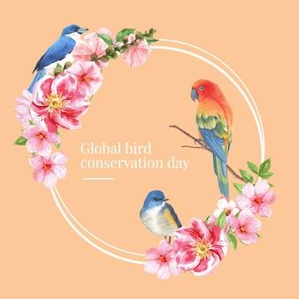 ブルーテイル、オウム、タチアオイ水彩イラストと昆虫と鳥の花輪。