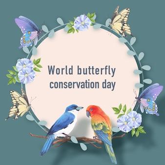 コガネメキシコインコ、蝶、リナム水彩イラストと昆虫と鳥の花輪。