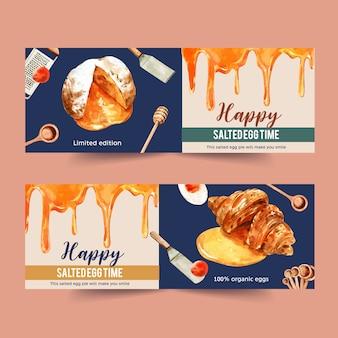 Соленое яйцо баннер дизайн с ковшом мед, заварной крем, круассан акварельные иллюстрации.