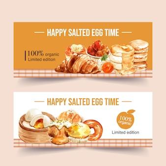 Соленое яйцо баннер дизайн с булочкой, круассан, блины акварельные иллюстрации.