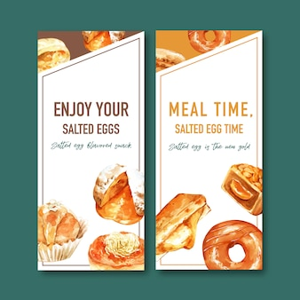 ドーナツ、ぬいぐるみパン水彩イラストと塩卵チラシデザイン。