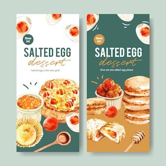 カップケーキ、マカロン、ぬいぐるみパン水彩イラストと塩卵のチラシデザイン。