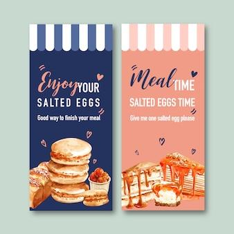 マカロン、パン、クレープケーキの水彩イラストと塩卵のチラシデザイン。