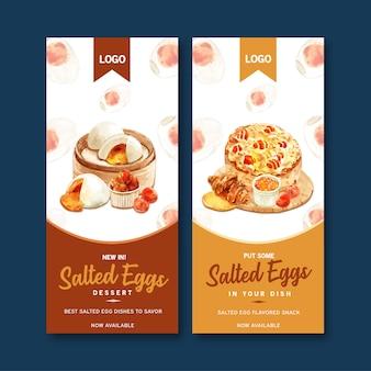 Соленый яйцо дизайн листовки с паровой булочки, круассан, пирог акварельные иллюстрации.