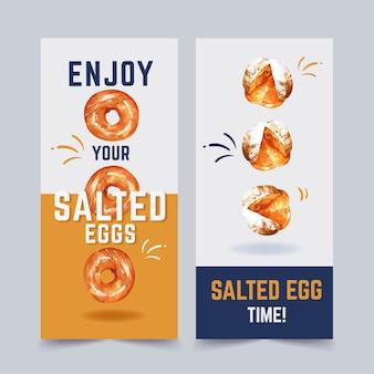 ドーナツ、パンの水彩イラストと塩卵フライヤーデザイン。