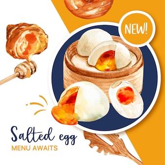 Соленое яйцо баннер дизайн с круассаном, пончик акварельные иллюстрации.