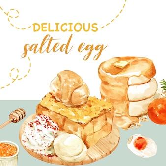 Соленое яйцо дизайн с блин, тост акварельные иллюстрации.