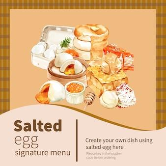 Соленое яйцо баннер дизайн с блин, тост акварельные иллюстрации.