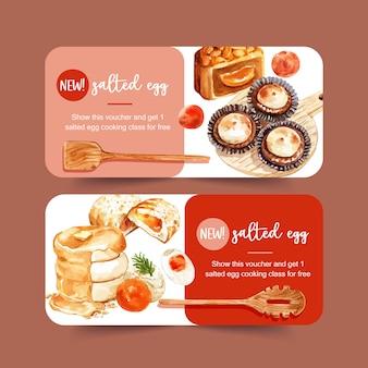 Соленое яйцо ваучер дизайн с блином, фаршированные булочки акварельные иллюстрации.