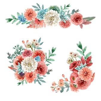 花エンバーグロー花束水彩イラスト。