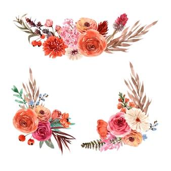レトロなスタイルの花エンバーグロー花束水彩イラスト。