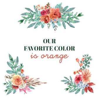 Дизайн букета с цветочной тлеющей тлеющей концепцией, акварельной иллюстрацией.