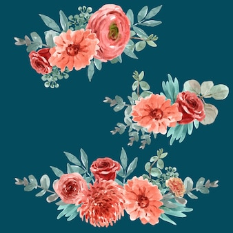 花のイラストの水彩画と花エンバーグローブーケ。