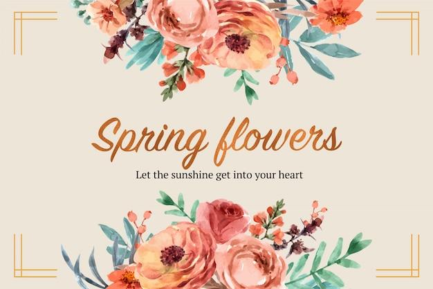 様々な花の水彩イラスト花エンバーグローフレーム。