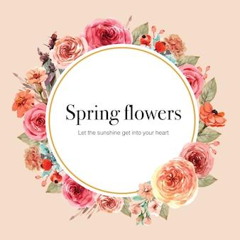 Венок с винтажной флористической картиной акварели иллюстрации гвоздики и розы.