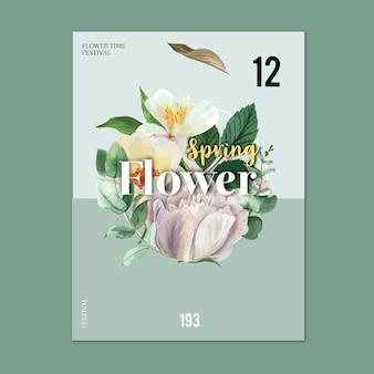 春のポスターの生花、カラフルな花柄の庭園、結婚式、招待状の装飾カード
