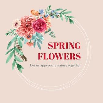カーネーション、ダリアのイラストのヴィンテージの花の水彩画と花輪。