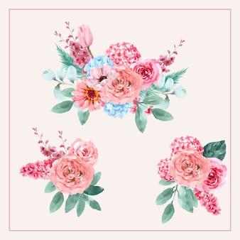 アジサイ、チューリップ、ルピナスのイラストがビンテージスタイルの花の魅力的な花束。