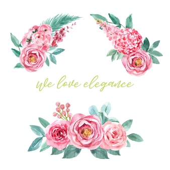 バラ、牡丹、あじさいの装飾が施された魅力的な花束です。
