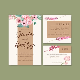 Флористическая очаровательная свадебная открытка с анемоном, люпином, розовой акварельной иллюстрацией.