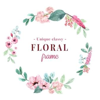 Венок с винтажной флористической картиной акварели иллюстрации пиона и ветреницы.