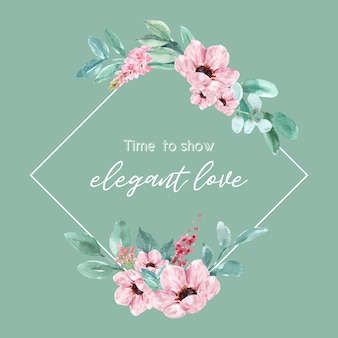 蘭、アネモネイラストの水彩画と花の魅力的な花輪。